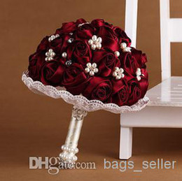 Wholesale Bride Wedding Bouquet Full Burgundy Rose With Crystal And Button New Arrival pc B17