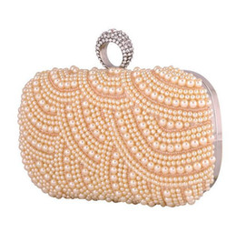 Wholesale Bridal Hand Bag Pearl Style Ring Button With Crystal White Black Champagne Color Mix PC B8