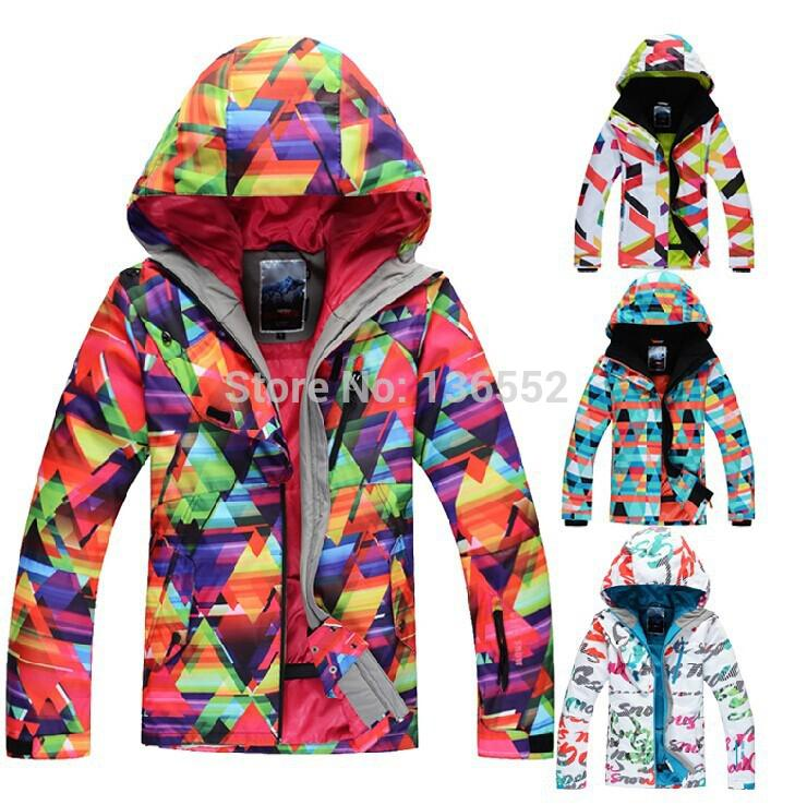 Cheap 2015 womens ski jacket geometric figure snowboard jacket ladies letter scrawl skiing jacket snow wear