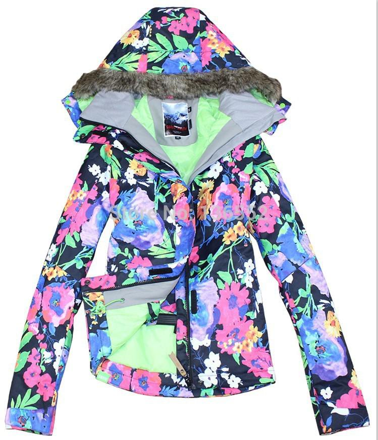 2015 Womens Floral Ski Jacket Flower Printing Snowboarding Jacket Ladies Winter Sports Jacket Snow Parka Skiwear Waterproof 10k Windproof From
