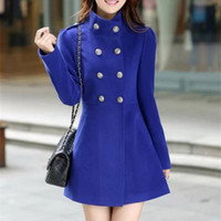 Wholesale New Women Coat autumn Winter Woolen Long Sleeve Overcoat Fashion Trench Woolen Coat Casacos Femininos
