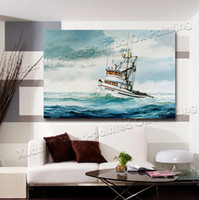 Cheap Oil Painting Wall Decor Art Canvas Art Modern Home Decoration Abstract Landscape Seascape Painting Sail Boat Art Printed On Canvas