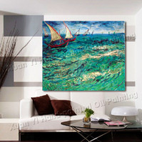 Cheap Oil Painting Wall Art Canvas Van Gogh Ocean Sailing Landscape Oil Painting Modern Home Decoration Art Wall Picture Prints On Canvas-98