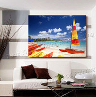 Cheap Oil Painting Wall Dcor Art Canvas Modern Beauty Landscape On Canvas Seascape Canvas Sailing Boat Wall Pictures Prints On Canvas(No Frame)