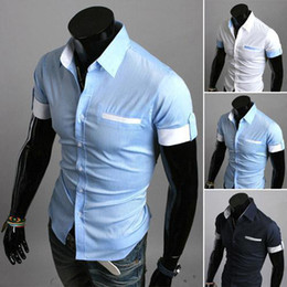 Wholesale New Summer British Shirt Mens Slim Fit Man Short Sleeve Shirts Men s Clothing Slim Casual shirts Coloe Size M XXL