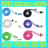 Wholesale DHL Flat Thin Small Noodle Charging Data Sync Cord USB Charger Cable For I4 I5 I6 Samsung Galaxy S3 S4 HTC M8 LG BLACKBERRY
