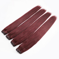 Wholesale 3PCS mixed RED WINE g Straight Hair Brazilian Human Hair Weft Extension High Quality Hair Weaves Burgundy Color Hair DHL