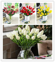 Wholesale 2014 New Pu Mini Tulip Flower Real Touch Wedding Flower Artificial Flower Silk FlowerHome Decoration