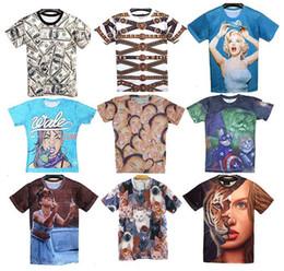 Wholesale Women Men D Novel Digital Print Short Sleeve T shirt Tops Casual Shirt
