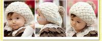 Cheap Free Shipping Hot Fashion Cute Children Baby Kids Knit Crochet Beanie Winter Warm Hat Cap,Baby Hat red pink beige WY54 100p