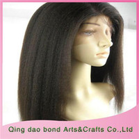 Cheap Cheap Human Hair Lace Front Wigs Malaysian Virgin Hair No Shedding and Drying Kinky Straight Lace Wig As a Nice Gift KS039