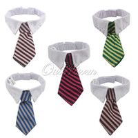 Wholesale Fashion Striped Bow Tie Collar Neck Tie White Collar Colors For Pet Dog Cat GLJ