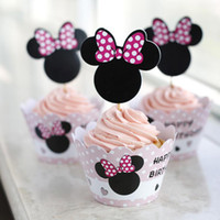 Wholesale 24pcs Birthday Party Feast Cake Surrounding Edge With Topper Laser Cut Minnie Mouse Paper Packing Cafeteria Dessert Wrapper wc803