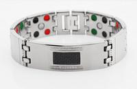 Cheap 2014 wide hand bracelet cz stone black carbon fiber infrared germanium tourmaline magnetic stainless steel bracelet for men