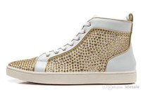 Wholesale New Rhinestone men women red bottom high top sneakers fashion white genuine leather sports shoes