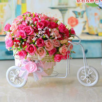 Wholesale 2014 New Plastic Rattan Wicker Trycycle Vase Include Flowers Bandwagon Artificial Rose Flower Set