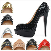 Wholesale new fashion women s brand designer peep toe genuine leather with spikes stiletto heels high heels fashion ladies platform pumps