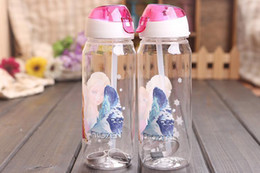 Wholesale 2 colors Hot Sell FROZEN plastic water bottle kids cartoon drinkware children straw cups cute cup tea kettle gift frozenC20