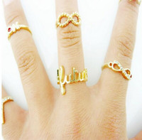 Cheap Western Fashion Knuckle Rings OK V Cross Infinite Mix 7PCS One Set 2014 New Arrival 24sets Free Shipping 0603B20