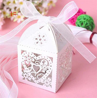 Cheap Wedding Favor small Boxes Floral Theme Laser Cut Favor Box With Bowknot candy box 200 pcs per lot
