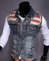 Wholesale 2014 Autumn New Arrive Men s Denim Vest Brand Jeans Vest Men Cowboy Vest Denim Sleeveless Jacket size M L XL XXL