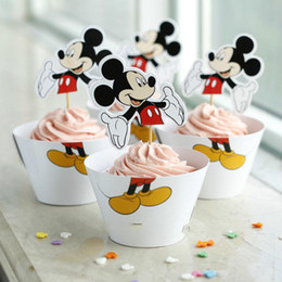 Wholesale 24pcs Cartoon Mickey Mouse Paper Wrapper and Topper Birthday Party Cake Surrounding Edge Snack Bar Dessert Packing wc812