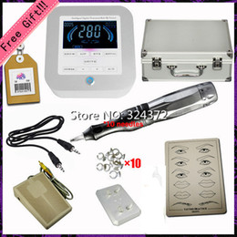 Wholesale Top Quality Brand Newest Digital Permanent Makeup Kit with Eyebrow lip Pen cartridge needles Tattoo kit foot switch power supply