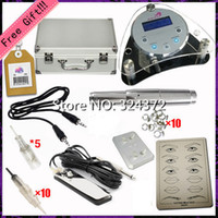 Wholesale 2016 top quality digital display permanent makeup kit Tattoo complete eyebrow lip pen machine power supply with needles aluminum box