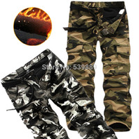 camouflage fabric - Winter quality fabric bags cotton thickening plus velvet Camouflage overalls pants trousers winter trousers