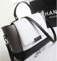 Shoulder Bags designer fabric - Women Messenger Bags Black and White Patchwork Designer Leather Handbags Fashion Shoulder Bags2015 Europe and the United States Style BGA040