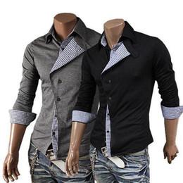 Wholesale 2014 New Brand Autumn Color Ribbon Decor Casual Mens Dress Shirts Slim Fit Long sleeve Social Camisa Masculina for Man M XXL