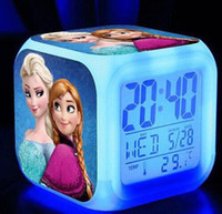 Wholesale 20pcs frozen Anna and Elsa LED Colors Change Digital Alarm Clock Thermometer Night Colorful Glowing Clock