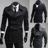 Wholesale 2014 new horn button hooded jacket male woolen coat color size