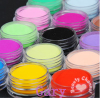 Wholesale 18 set Nail Acrylic Powder Colors Diy Colourful Dust Set For d Art Mold Coloured False Nails Tips
