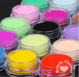 18 pcs / mettre ongles en acrylique en poudre 18 Couleurs Diy coloré poussière Set Pour Art Mold 3D colorés faux ongles Conseils