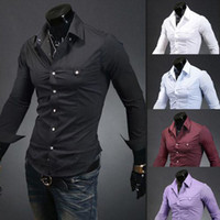 Casual Shirts Long Sleeve 100% Silk Free Shipping 2014 Mens Slim fit Unique neckline stylish Dress long Sleeve Shirts Mens dress shirts 5colors ,size: M-XXL 5006