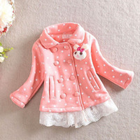 Cheap Spring New Children Coat Sweet Girls Lace Bunny Brooch Polka Dot Jacket Fashion Kid Double-breasted Outwear Pink Yellow A1283
