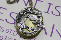 alice locket - classic silver alice in wonderland style locket Necklace with chain christmas gift