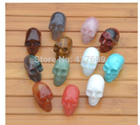 agate skull crystal - Natural crystal rose quartz red agate tiger eye green aventurine turquoise Skull Crystal Healing