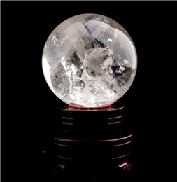 Natural polished white crystal quartz ball sphere ball feng shui crystal ball nunatak lucky decoration 30g+stand free shipping
