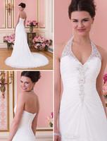 Wholesale Charming stunning a line halter chapel train white chiffon lace top beach wedding dresses low back garden wedding gowns sexy bri