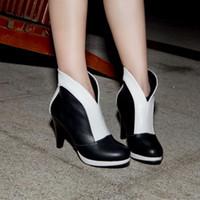 Wholesale Boots PU women s shoes color block decoration fashion high heel CM Platform CM EUR Size