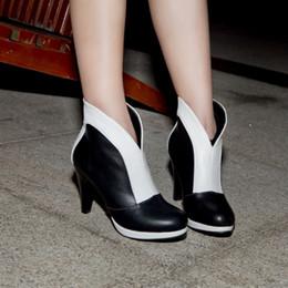 Boots PU women's shoes color block decoration 47 46 45 44 31 32 33 fashion high heel 9.5CM Platform 1CM EUR Size 30-48