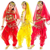 Sequin belly dancing apparel - 2pcs set Children Belly Dance Costume Set Sequins Top Bra Turning Pants Stage Performance Apparel tsc01s2