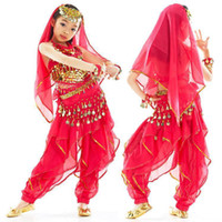 Cheap 5pcs set Tribal Belly Dance Apparel Set (Bra + Pants + Belt + Headwear + Veil) Children Girls Dancing Costume tsc01s5