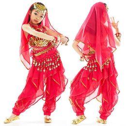 Wholesale 5pcs set Tribal Belly Dance Apparel Set Bra Pants Belt Headwear Veil Children Girls Dancing Costume tsc01s5