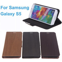 wooden stand - Elegant Protective Wooden PU Leather Wallet Flip Stand Case Cover With Card Holder for SAMSUNG Galaxy S5 i9600 High Quality PA1615