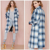 Wholesale Women Winter Coat British Boyfriend Syle Trench Coat Suit Collar Long Sleeve Plaid Blended Wool Coat Fashion Loose Long Woolen Coat