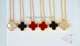 Wholesale Authentic French VCA van cleef k rose gold necklace silver romantic couples love fashion clover necklace