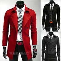 Cheap Fall Winter 2014 Men Outerwear Overcoat Black Red Grey Mens Long Epaulet Trench Coat Men Wool Coat Casaco Masculino M-XXL
